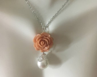 Bridal necklace flower pearl necklace bridal drop necklace bridesmaids gift flower jewelry wedding favors wedding necklace wedding jewelry