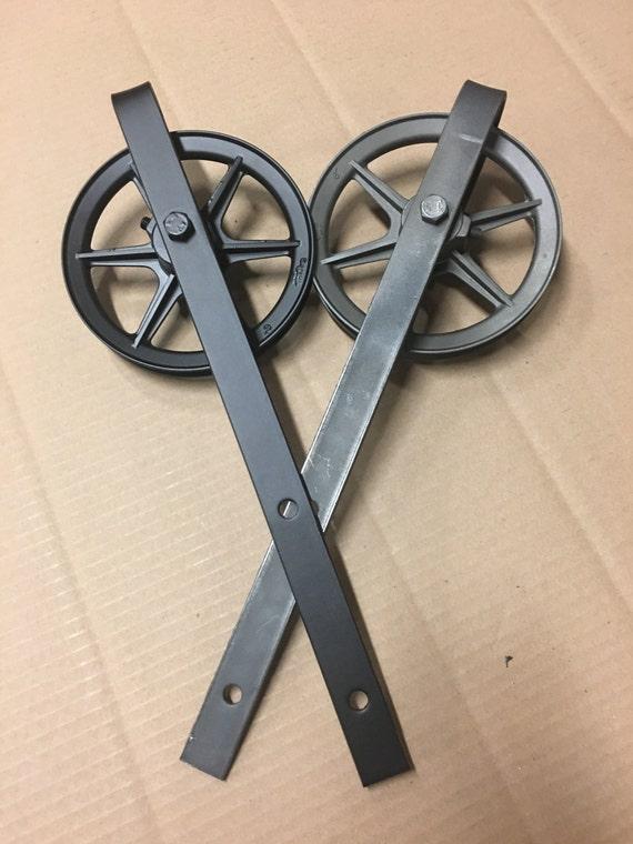 Rustic raw steel barn door wheel and strap only