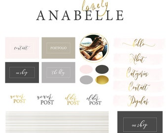 Branding kit, Blog kit, Website kit, Blogging kit, Website buttons, Premade blog graphic, Website and blog design01