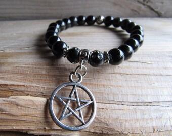 Black Onyx with Pentagram Charm Bracelet