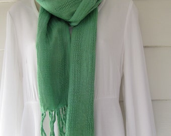 Cotton scarf with fringe, hand woven in Java, hand-dyed green with fiber-reactive dye