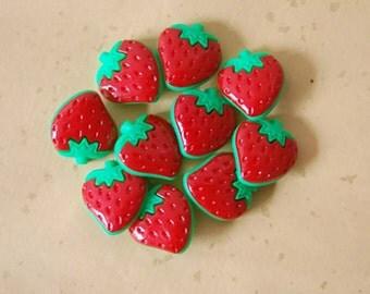 Strawberry buttons 3pcs