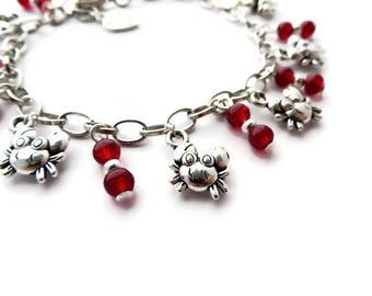 CANCER Zodiac jewelry, Crab bracelet, July birthstone ruby jewelry, Horoscope jewellery, birthday gift for teen, Silver charm bracelet gift