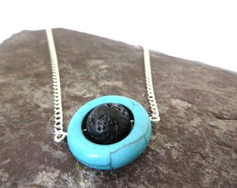 Turquoise jewelry, Essential oil diffuser necklace, Aromatherapy jewelry, Festival jewellery, boho jewelry, gift for her, yoga jewellery, UK