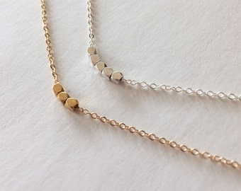 Minimalist silver or gold faceted nugget necklace, dainty tiny geometric boho layering necklace, sterling silver or 24K gold vermeil simple