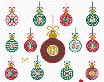 Christmas Balls Monogram Patterned Ornaments Frames DXF SVG PNG eps Winter Holidays Cut File Cricut Design, Silhouette studio, vinyl decal