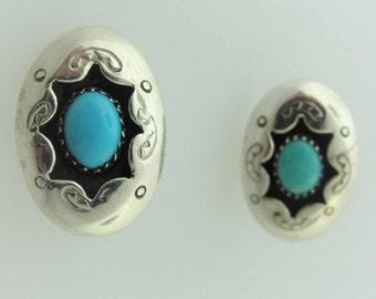 Vintage Turquoise Tribal Stud Earrings- Sterling Silver