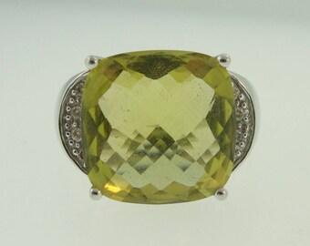 Lemon Topaz And Diamond Ring- 14k White Gold