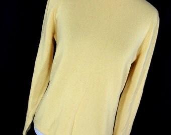 Vintage Cashmere Womens Sweater M Medium Yellow Classic Crew Neck Marshall Fields Long Sleeve J9