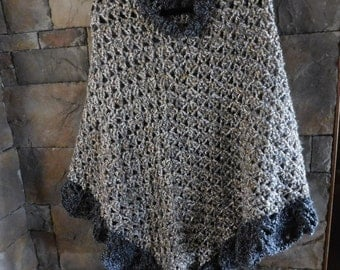 Hand Crocheted Poncho with Scalloped Edge, Gray/Tan/Cream