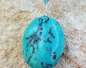 Genuine Large Chunky Oval Turquoise Gemstone and Sterling Silver Pendant, Large Blue Turquoise Pendant, Large Turquoise Drop, Turquoise