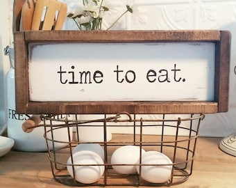 Farmhouse Kitchen Decor | Vintage Market and Grocery | Casual Farmhouse | Fixer Upper | Cottage Home | White Wash | Time To Eat | Handmade