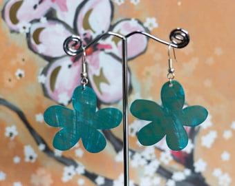 Blue Shell Flower Drop Earrings
