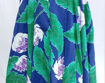 1970's Vintage High Waisted Summer Skirt - Tropical Fronds and Flowers