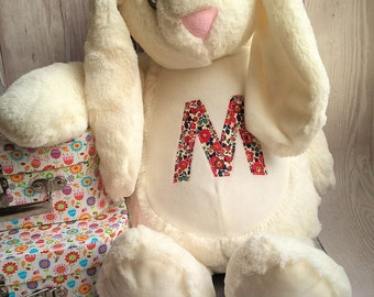 Personalised soft toy / pyjama case bunny with Liberty fabric