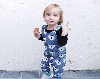 K O A L A Baby Romper, Toddler Romper, Organic cotton romper, Harem Romper, Koala Romper, Baby Onesie, Monochrome, Girls Romper, Boy Romper