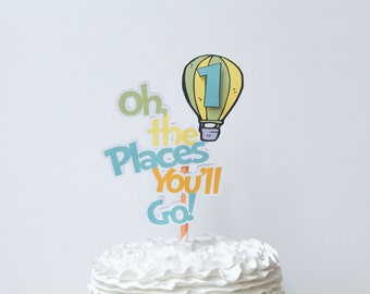 Instant Download - Oh the Places You'll Go Birthday Balloon Cake Topper | Blue and Green
