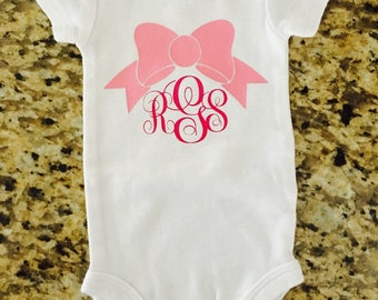 Monogram bow onesie