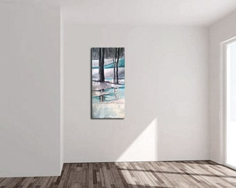 ABSTRACT PAINTING -  Modern Home Wall Decor Painting Canvas Art (  40x100 cm )(16x40inch) forest ,trees