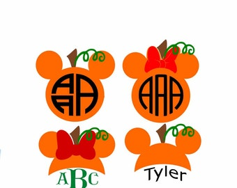 Mickey Minnie Pumpkin Halloween Disney Monogram frames Cuttable Design SVG Cut Files For Cutting Cricut Design Space, Silhouette Studio