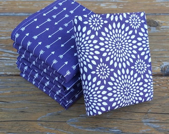 Reusable Cotton Napkins, Set of 5, Lunch Box Napkins, Cotton Napkins, Fabric Napkins, Cloth Napkins, Purple Arrow Napkins, Purple, Lunch Box