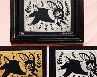 Rabbit & Arrows - Linocut