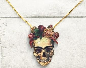 Skull Necklace, Skull Jewellery, Day of the Dead Skull, Freda Kahlo, Skull, Gothic, Skull jewellery, laser cut jewellery