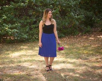Vintage Indigo Skirt // Pleated Skirt // 1980s Skirt
