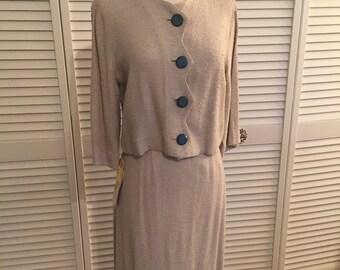 1950s beige zig zag ladies 2pc suit