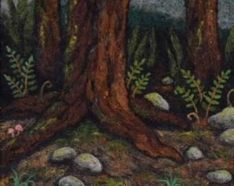 Needle Felt Landscape -- Creek's Crossing -- Wool Painting