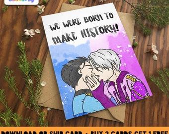 YURI ON ICE Love Greeting Card | Victor nikiforov eros katsuki jj style yaoi fudanshi fujoshi anime art fanart anniversary gay bisexual love