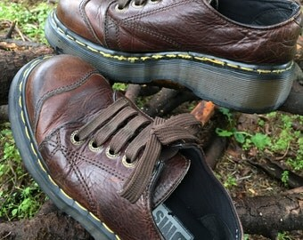 Vintage Dr. Martens 8651 Leather 5 Eye Lace Cap Toe Shoe | Iconic Classic Doc Martens Yellow Stitched DM's Shoe | Air Wair | Made in England