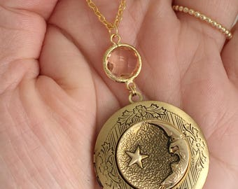 Moon and Star Locket Necklace. Long Necklace.