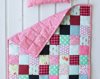 Patchwork cute doll blanket and pillow