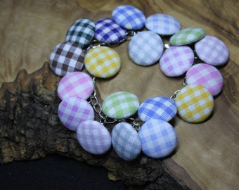 Hand made, upcycled, fabric button bracelet, checkered/gingham pattern