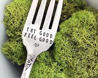 Eat Good Feel Good Fork & Heart, Hand Stamped Fork, Healthy Eating, Vintage, Foodie, Gift, Present, Food Blogger, Diet, Birthday, Sweet Mint