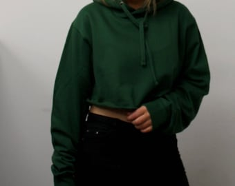 Oversized Cropped GREEN Hoodie, ONE SIZE, Cropped  Hoodie, Rugged Look,Baggy Hoodie, Yeezy Fashion,