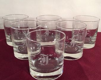 "Vintage Low Ball ""F"" Monogrammed Glasses / Rock Glasses / Set of 6 barware"
