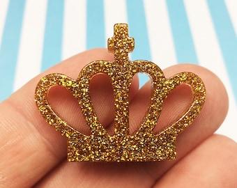 Glitter Gold Crown Kawaii Resin Flat Back, Princess, (R009)