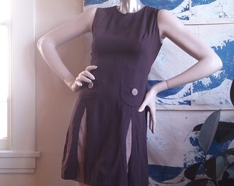 Adorable Chocolate Brown Handmade Dress Pleated Pockets Vintage