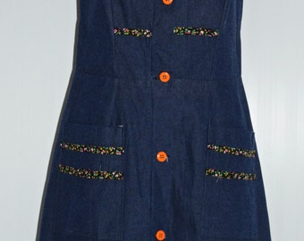 Denim vintage strap dress Size 38 FR