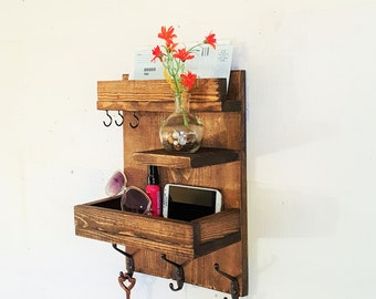 SALE ! Entryway mail & key reclaimed wood shelf organizer-storage and organization-mail and key holder-entryway organizer-entryway Organizer