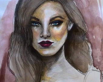 Glam Original Watercolor Fashion Illustration