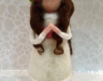 Needle felted doll, wool doll, First Communion doll, First Communion present, Waldorf doll, spring felted doll, princess doll, felted doll