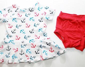 Toddler Anchor Peplum Top, Baby Anchor Peplum Top, Toddler Peplum Shirt, Baby Peplum Shirt