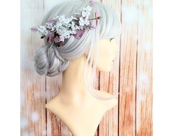 White Lavender Flower Hair Comb