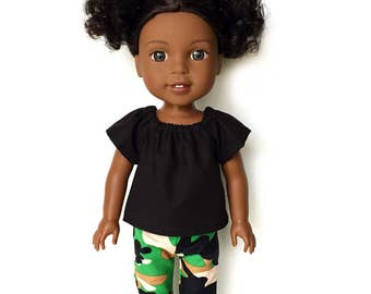 Peasant Top, Black, 14.5 inch, Fits dolls such as AG Wellie Wishers Doll Clothes, Free Mini Skirt with the Purchase of 3 WW Peasant Tops