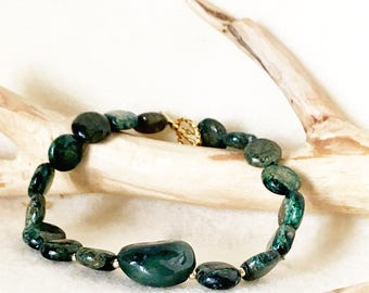 Green Jasper Bracelet with 14kt gold beads and clasp, Green Gemstone Jewelry, Green Blue Gemstone, Protection Stones Jewelry, Unique Gift