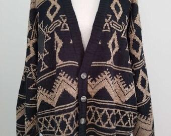 Vintage Black & Brown 1990's Cardigan