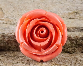 3.5cm Coral Colored Resin Rose Bead or Rose Pendant - Flower Bead for Resin Pendant and Jewelry Making J812
